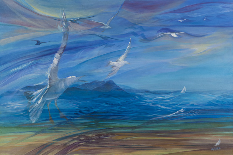 'Seagull mountain breeze', 91x61, framed, R 11 400