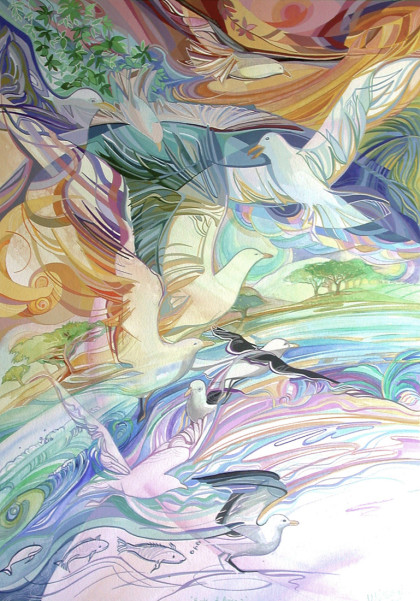 'Birds of praise', 56x78 , stretched canvas giclee print, R 3 800