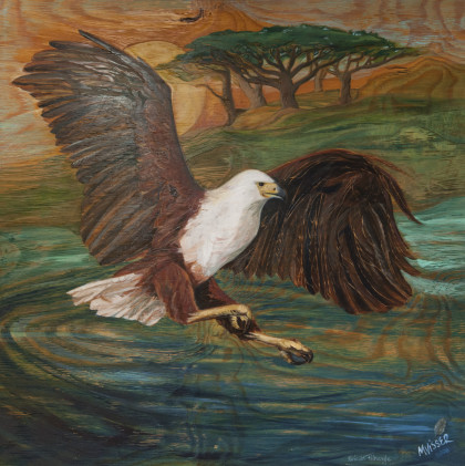 'African fish eagle', 1.6mx1.6m, original, framed, painted and carved on wood, R 33 000